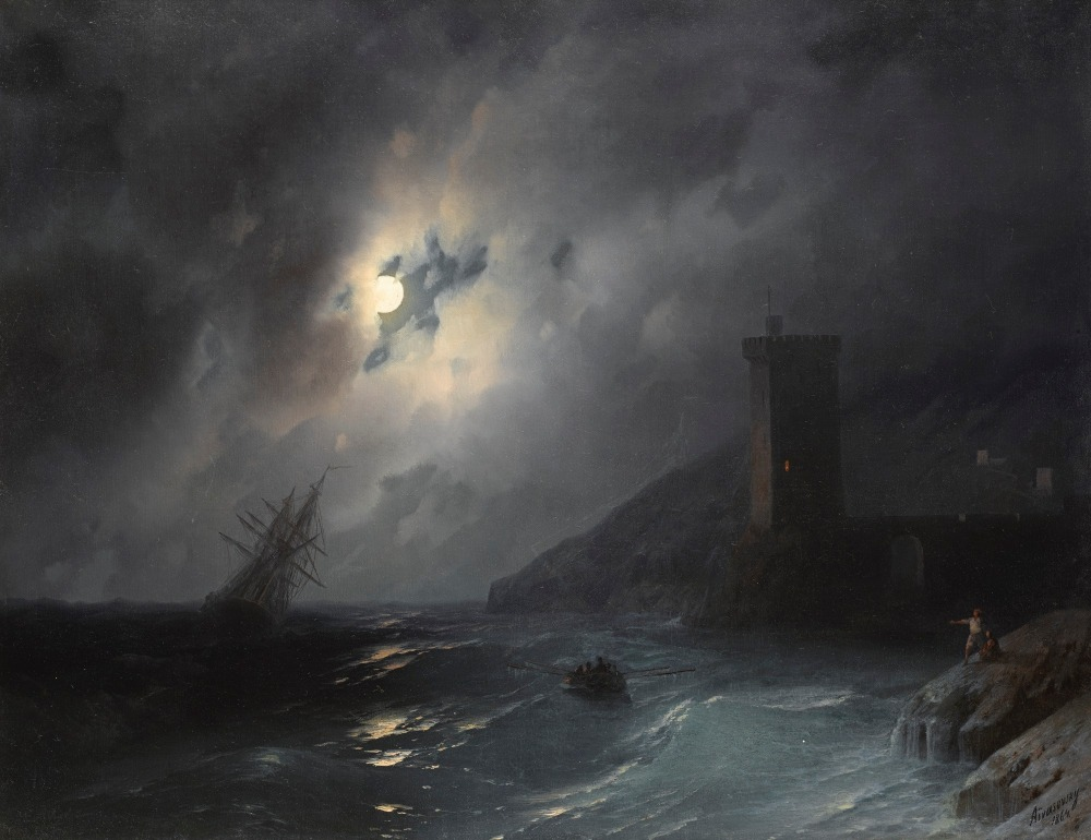 Ivan Konstantinovič Ajvazovskij (Russian, 1817-1900), Лунный берег:Moonlit coast (1864) Oil on canvas, 56 x 80 cm Private collection