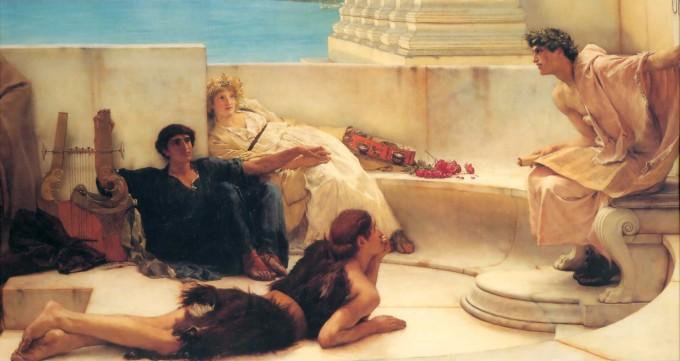 """Lawrence Alma-Tadema, """"A Reading from Homer"""" (1885)"""