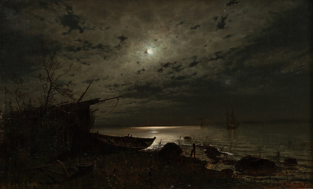 Magnus Hjalmar Munsterhjelm (Swedish-Finnish, 1840-1905), Kuunvaloa Merellä:Månsken över havet:Moonlight over the Sea (1876) Oil on canvas, 58 x 93 cm Private collection