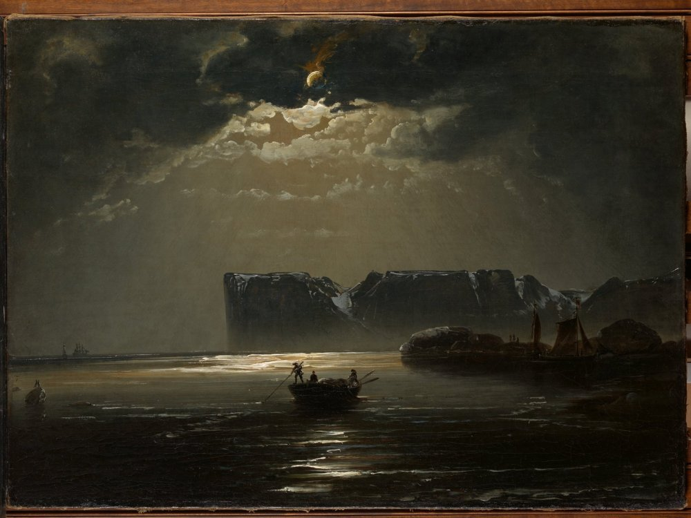 Peder Balke (Norwegian, 1804-1887), Nordkapp i måneskinn:The North Cape by Moonlight (1848) Oil on canvas Oslo, private collection