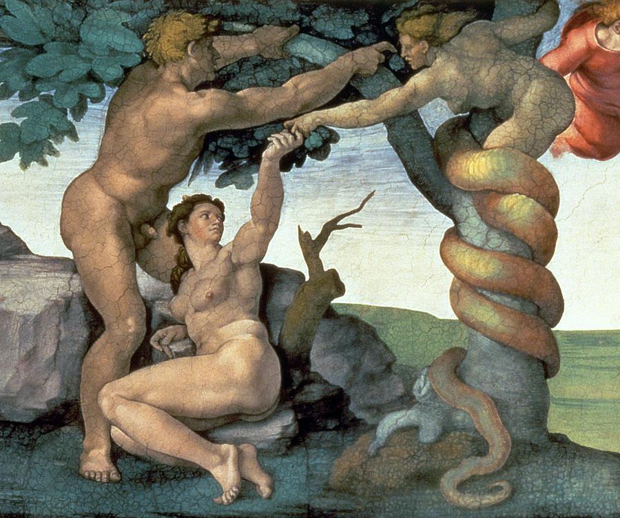 sistine-chapel-ceiling-1508-12-the-fall-of-man-1510-fresco-post-restoration-detail-of-167699-michelangelo-buonarroti