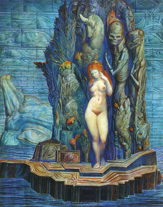 Ernst Fuchs, The Island of Aphrodite Before the Wall of Heaven, 1974