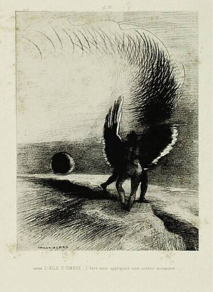 Odilon Redon Beneath the shadowy wing the black creature inflicted a deep bite 1891