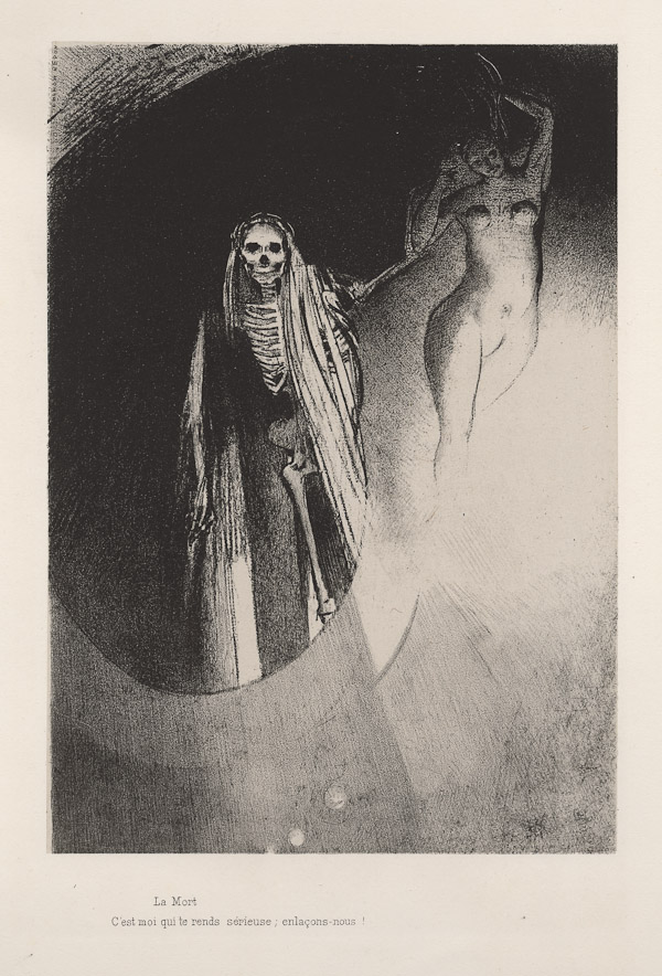 Odilon Redon Death- It Is I Who Makes You Serious Let Us Embrace 1896