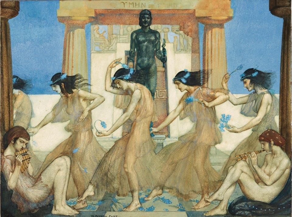 William Russell Flint, Theocritus' Idyll XVIII : Chorus and Musicians, 1913