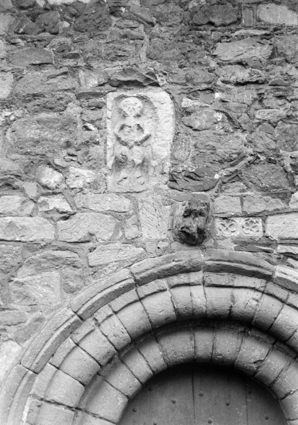 Photograph of the Sheela na gig, Church Stretton, Shropshire [c.1930s-1980s] by John Piper 1903-1992