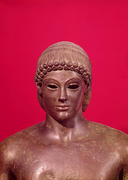 Greek - The Apollo of Piombino detail of the head of the statue foun - (MeisterDrucke-355998)