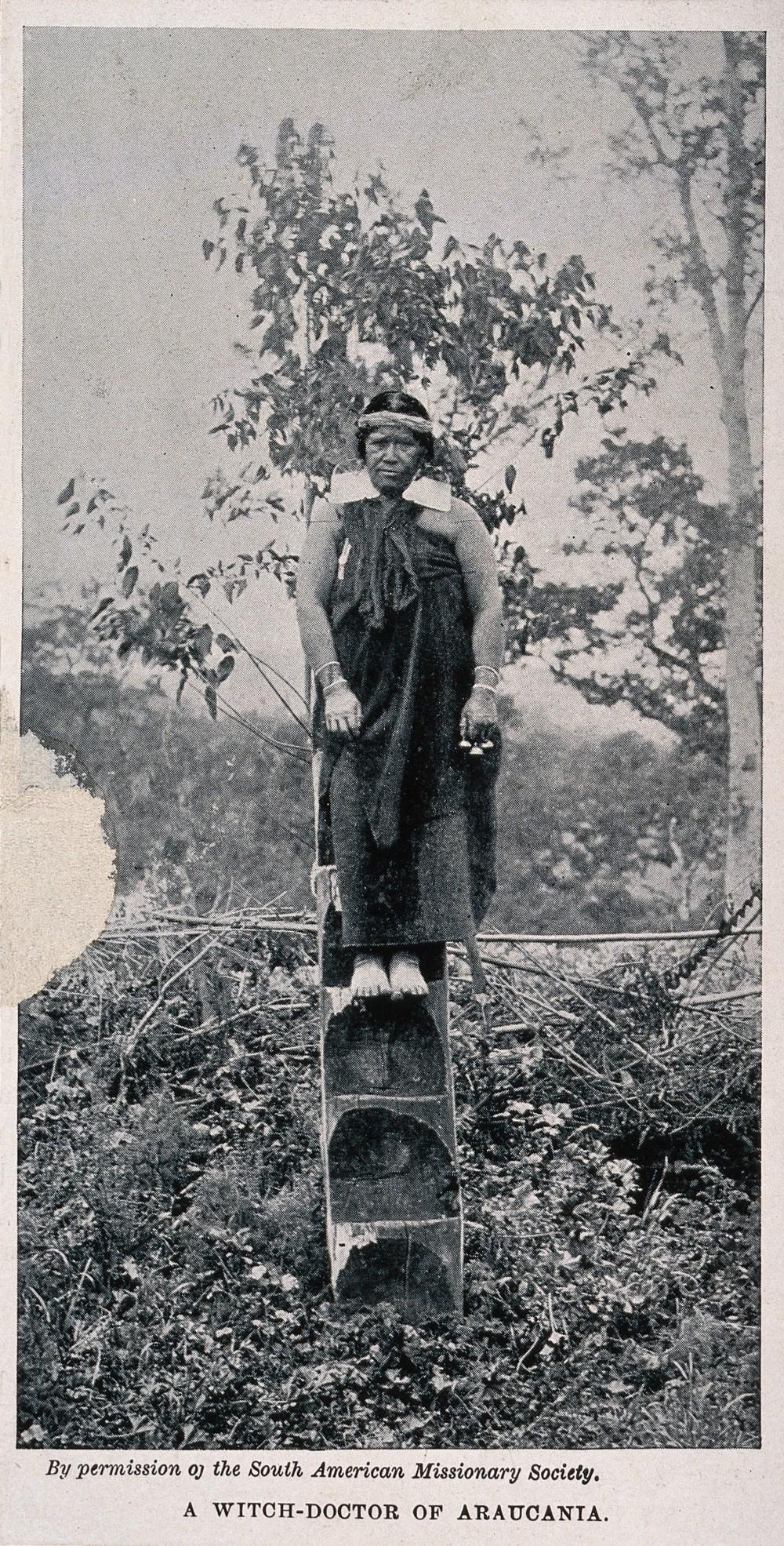V0015995 A shaman or medicine woman, Araucania, Chile. Halftone.