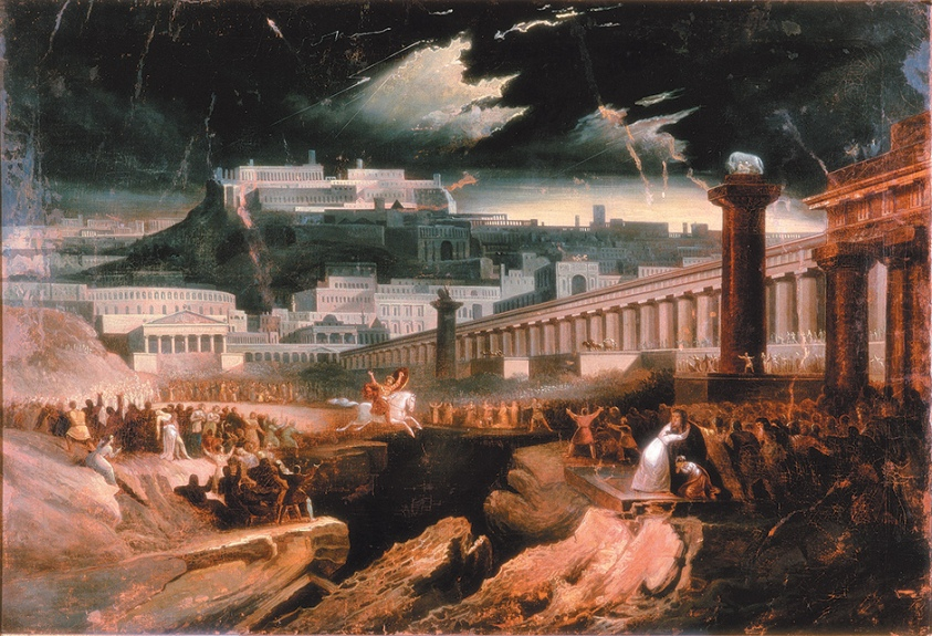 'Marcus Curtius'; after John Martin, circa 1827. According to the historian Livy, when a chasm opened up in the Forum in 362 BC and an oracle declared that Rome could endure only by casting its greatest strength into it, the soldier Marcus Curtius sai