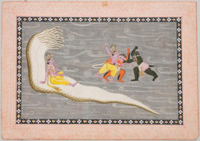 Unknown_(Indian)_-_Vishnu_on_Serpent_Shesha_and_Vishnu_Battling_Demons_Madhu_and_Kaitabha_-_69.424_-_Detroit_Institute_of_Arts
