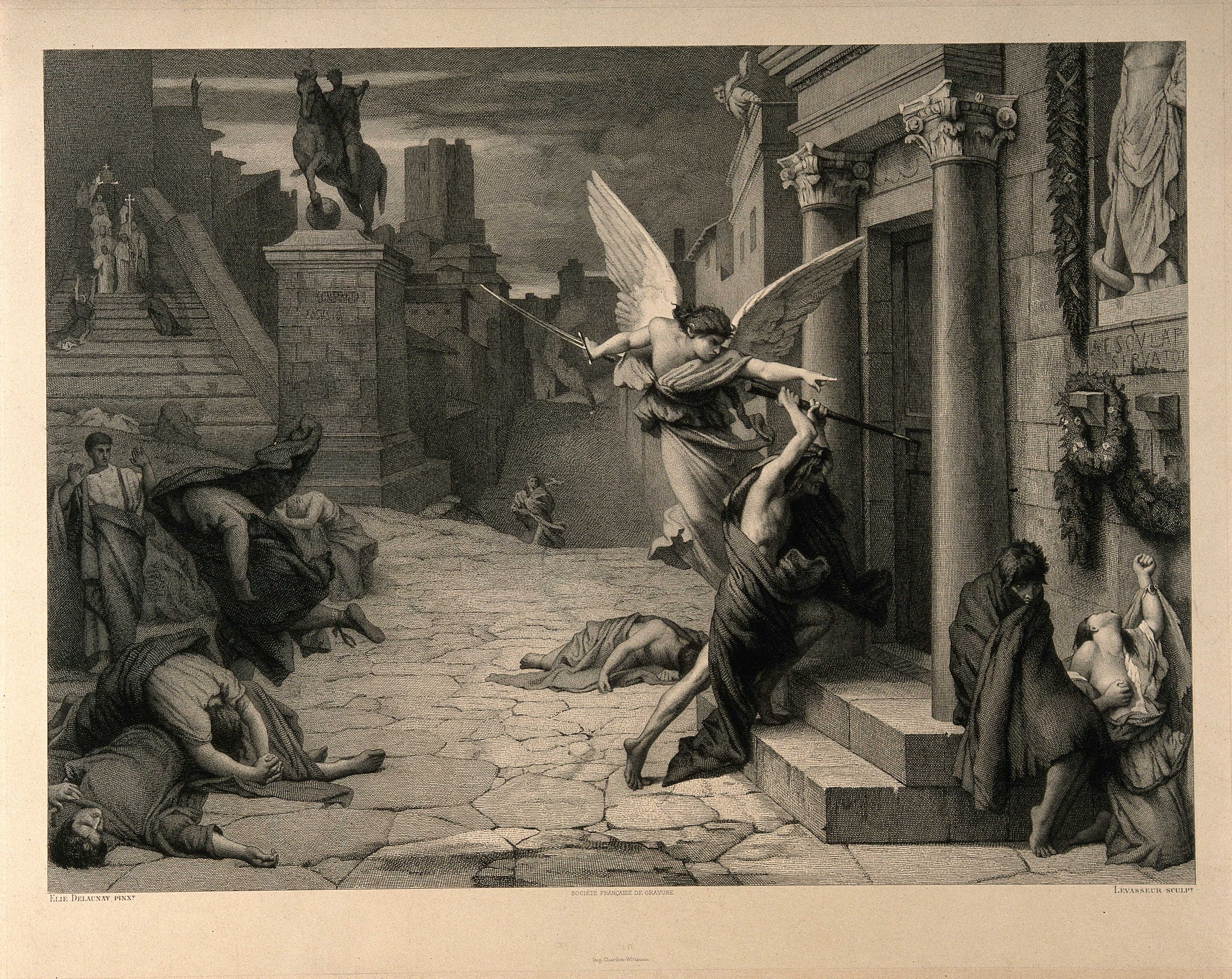 The angel of death striking a door during the plague of Rome. Engraving by Levasseur after J. Delaunay.