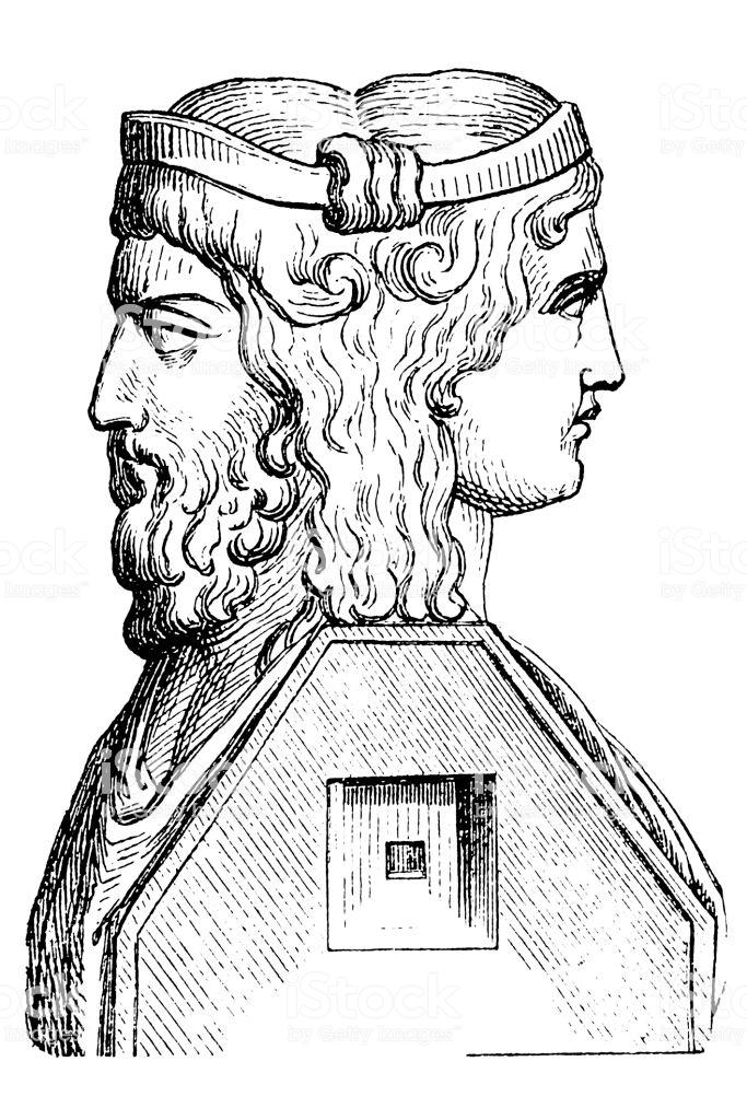 Illustration of a Roman God Janus
